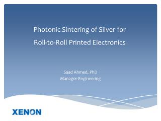 Photonic Sintering of Silver for  Roll-to-Roll Printed Electronics