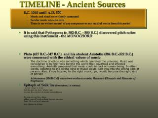 TIMELINE - Ancient Sources
