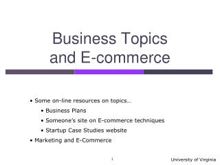 Business Topics and E-commerce