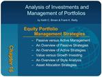 Analysis of Investments and   Management of Portfolios   by Keith C. Brown  Frank K. Reilly