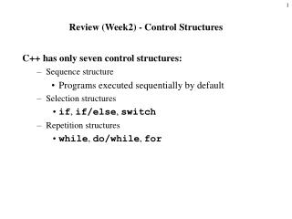 Review (Week2) - Control Structures