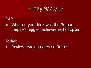 ACHIEVEMENTS OF THE ROMAN EMPIRE