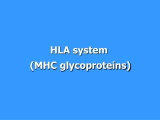 HLA system  (MHC glycoproteins)