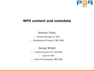 WP5 content and metadata