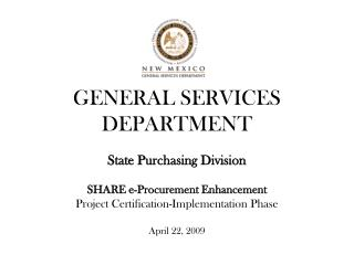 GENERAL SERVICES DEPARTMENT