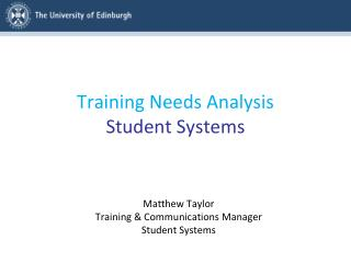 Training Needs Analysis Student Systems