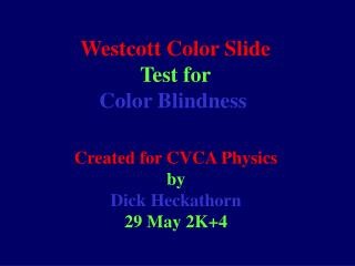 Westcott Color Slide  Test for Color Blindness