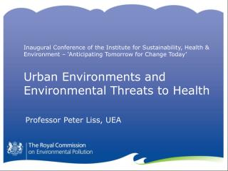 Urban Environments and Environmental Threats to Health