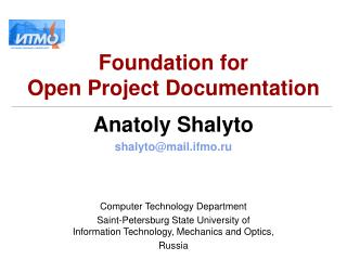 Foundation for  Open Project Documentation