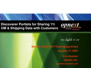 Discoverer Portlets for Sharing 11i  OM & Shipping Data with Customers