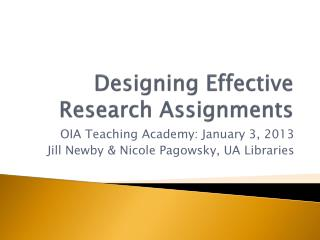 Designing Effective Research Assignments