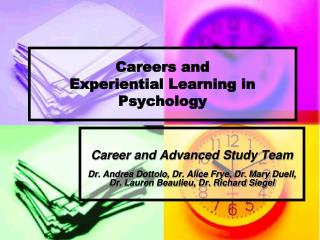 Careers and  Experiential Learning in Psychology