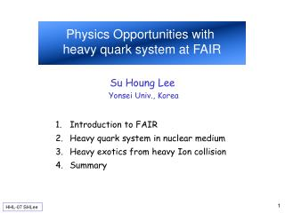 Physics Opportunities with  heavy quark system at FAIR