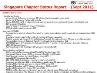 Singapore Chapter Status Report – (Sept 2011) ‏