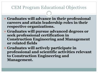 CEM Program Educational Objectives
