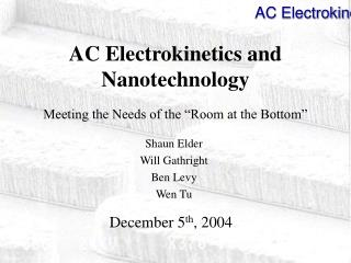 AC Electrokinetics and Nanotechnology  Meeting the Needs of the  Room at the Bottom