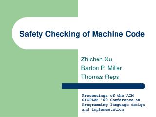 Safety Checking of Machine Code