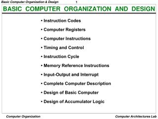 Ppt Basic Computer Organization And Design Powerpoint Presentation Free Download Id 6029105