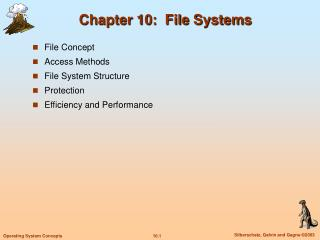 Chapter 10:  File Systems