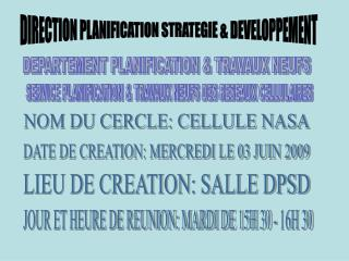 DIRECTION PLANIFICATION STRATEGIE & DEVELOPPEMENT