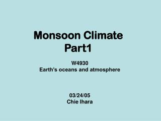 Monsoon Climate Part1