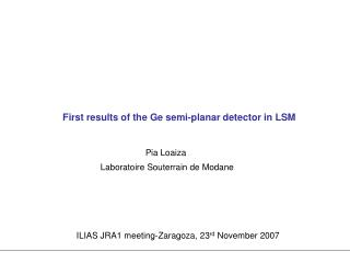 First results of the Ge semi-planar detector in LSM