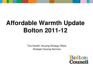 Affordable Warmth Update Bolton 2011-12