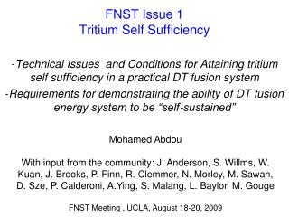 FNST Issue 1 Tritium Self Sufficiency