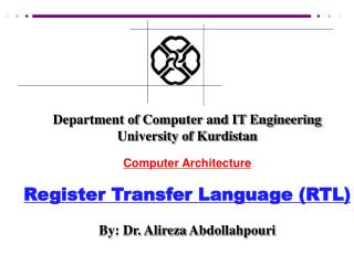 Department of Computer and IT Engineering University of Kurdistan Computer Architecture