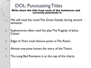 DOL: Punctuating Titles