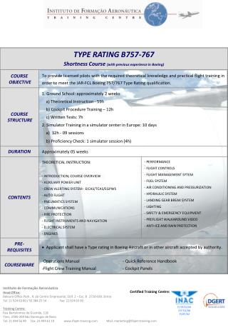 TYPE RATING B757-767 Shortness Course (with previous experience in Boeing)