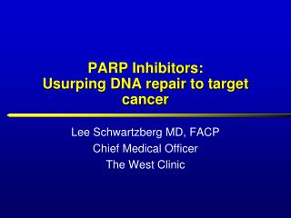 PARP Inhibitors: Usurping DNA repair to target cancer