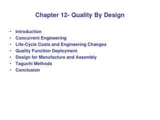 Chapter 12- Quality By Design
