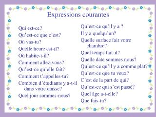 Expressions courantes