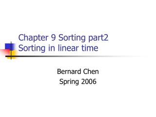 Chapter 9 Sorting part2 Sorting in linear time