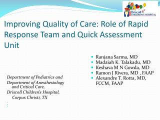 Improving Quality of Care: Role of Rapid Response Team and Quick Assessment Unit
