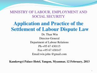 MINISTRY OF LABOUR, EMPLOYMENT AND SOCIAL SECURITY