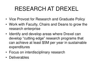 RESEARCH AT DREXEL