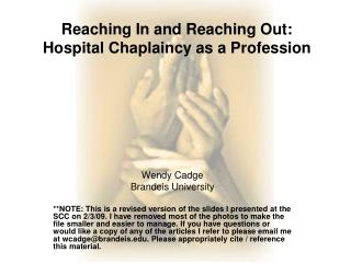 Reaching In and Reaching Out: Hospital Chaplaincy as a Profession