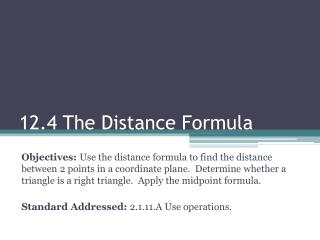 12.4 The Distance Formula