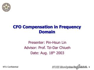 CFO Compensation in Frequency Domain