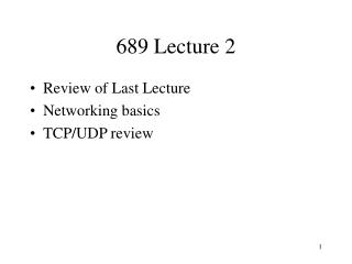 689 Lecture 2