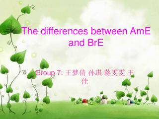 The differences between AmE and BrE