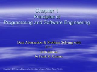 Chapter 1 Principles of  Programming and Software Engineering