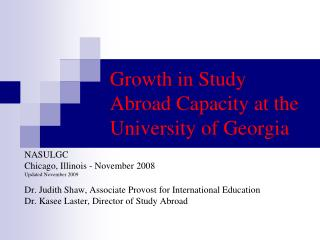 Growth in Study Abroad Capacity at the University of Georgia