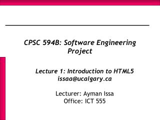 CPSC 594B: Software Engineering Project
