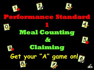 Performance Standard 1 Meal Counting  &  Claiming