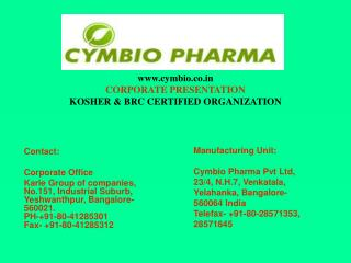 Cymbio Pharma Pvt Ltd corporate presentation