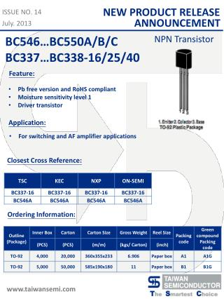 Pb free version and RoHS compliant Moisture sensitivity level 1 Driver transistor