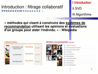 Introduction : filtrage collaboratif